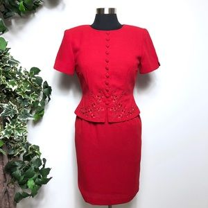 Maggy London Vintage Red Embroidered Dress Size 4P